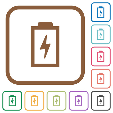 Battery with energy symbol simple icons in color rounded square frames on white background Illustration
