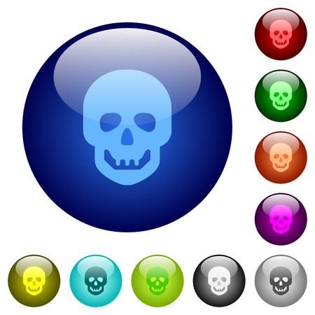 Human skull icons on round color glass buttons