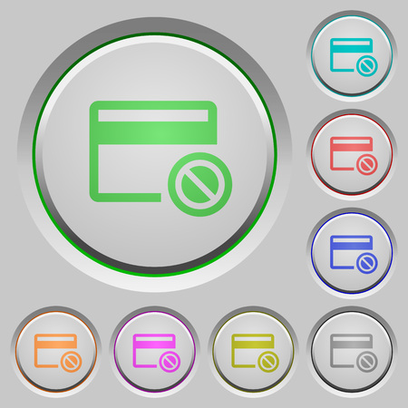 Credit card disabled color icons on sunk push buttons Ilustrace