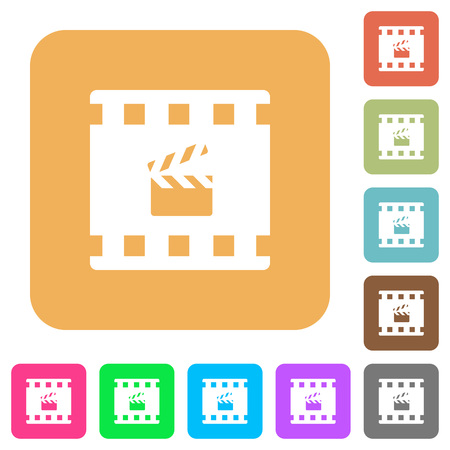Movie production flat icons on rounded square vivid color backgrounds.