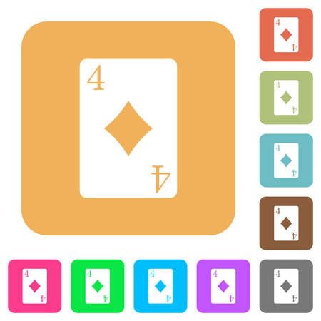 Four of diamonds card flat icons on rounded square vivid color backgrounds.