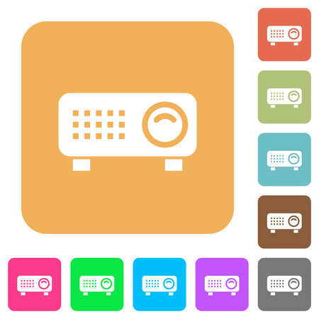 Video projector flat icons on rounded square vivid color backgrounds. Illustration