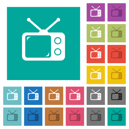 Vintage retro television multi colored flat icons on plain square backgrounds. Included white and darker icon variations for hover or active effects. Ilustração