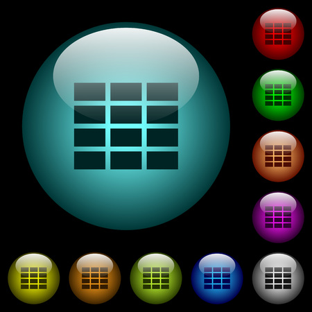 Spreadsheet icons in color illuminated spherical glass buttons on black background. Can be used to black or dark templates Vectores