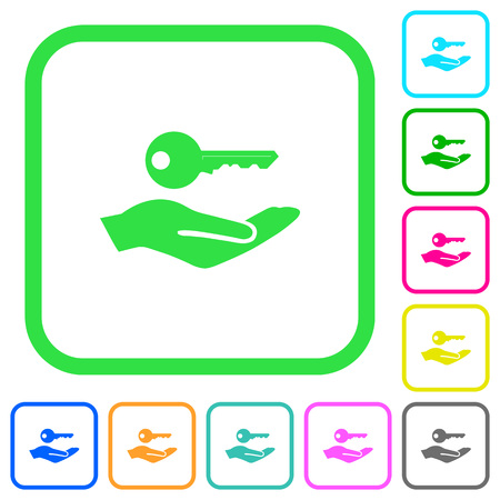 Security service vivid colored flat icons in curved borders on white background