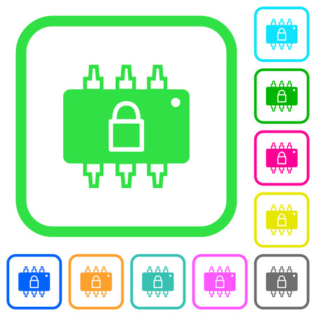 Hardware locked vivid colored flat icons in curved borders on white background