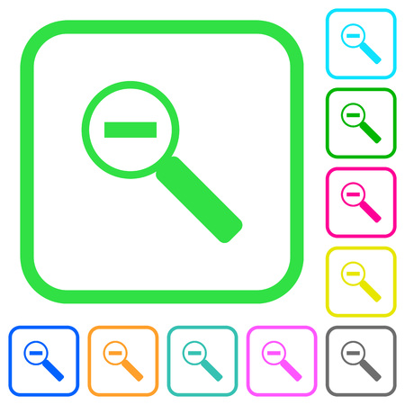 Zoom out vivid colored flat icons in curved borders on white background Ilustrace