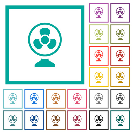 Table fan flat color icons with quadrant frames on white background.