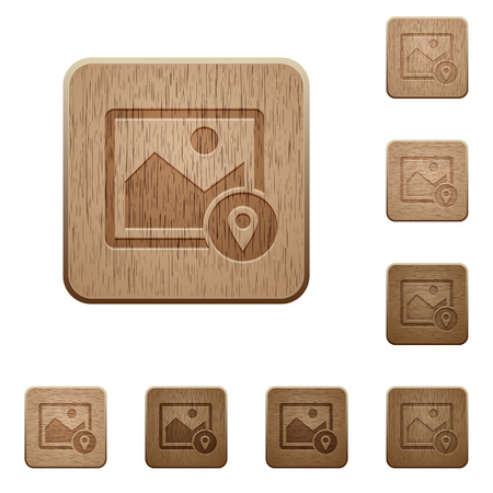 Image landmark GPS map location on rounded square carved wooden button styles.