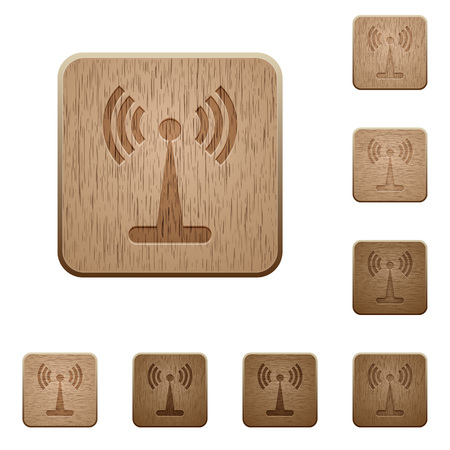 Wlan network on rounded square carved wooden button styles. Illustration