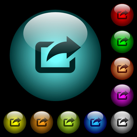 Export with upper right arrow icons in color illuminated spherical glass buttons on black background.