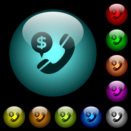 Dollar commercial call icons in color illuminated spherical glass buttons on black background.