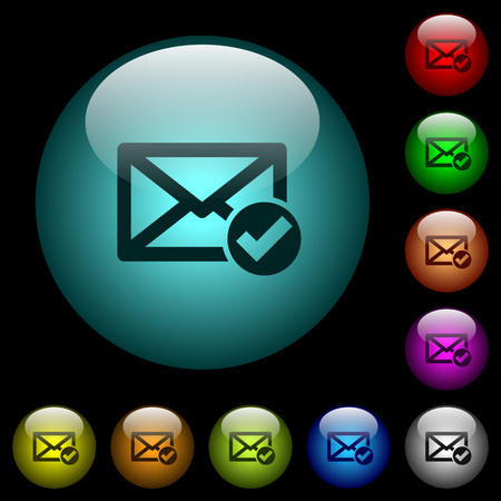 Mail read icons in color illuminated spherical glass buttons on black background. Can be used to black or dark templates.