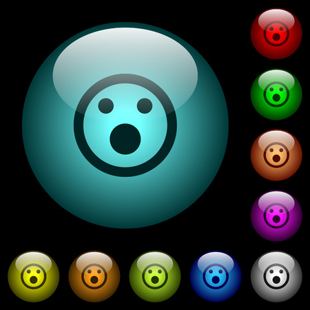 Shocked emoticon icons in color illuminated spherical glass buttons on black background. Can be used to black or dark templates.