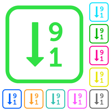 Descending numbered list vivid colored flat icons in curved borders on white background.