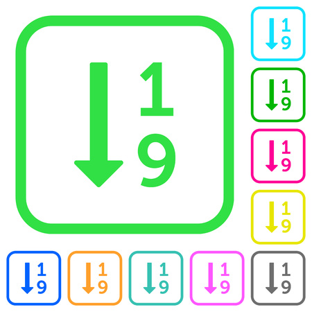 Ascending numbered list vivid colored flat icons in curved borders on white background.