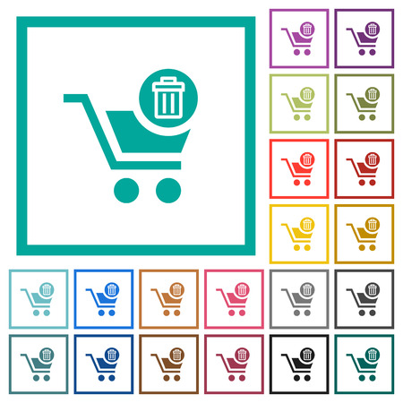 Delete from cart flat color icons with quadrant frames on white background
