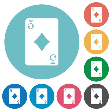 Five of diamonds card flat icons Illustration
