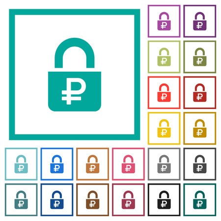 Locked Rubles flat color icons with quadrant frames on white background