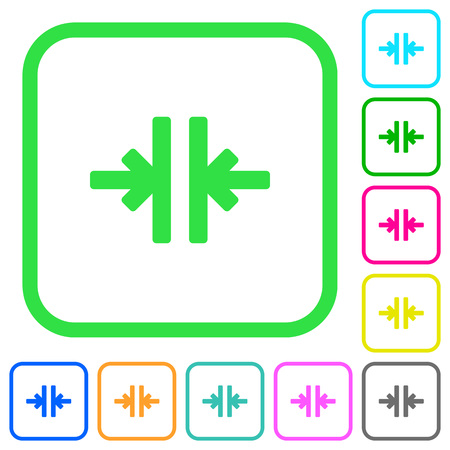 Vertical merge tool vivid colored flat icons in curved borders on white background