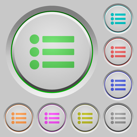 Bullet list color icons on sunk push buttons