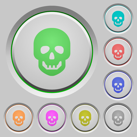 Human skull color icons on sunk push buttons
