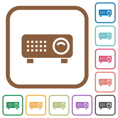 Video projector simple icons in color rounded square frames on white background Illustration