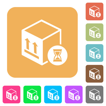 Package delivery in progress flat icons on rounded square vivid color backgrounds.