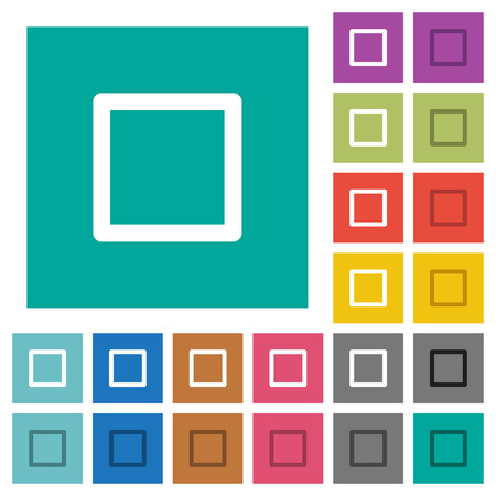 Media stop multi colored flat icons on plain square backgrounds. Included white and darker icon variations for hover or active effects.