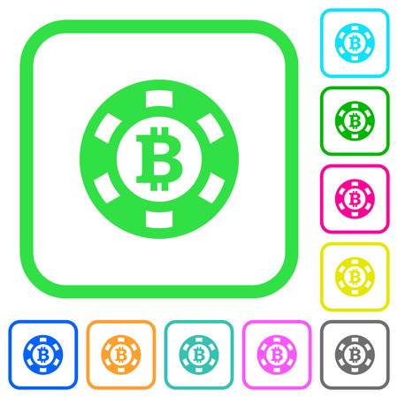 Bitcoin casino chip vivid colored flat icons in curved borders on white background