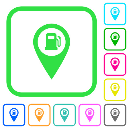 Gas station GPS map location vivid colored flat icons in curved borders on white background