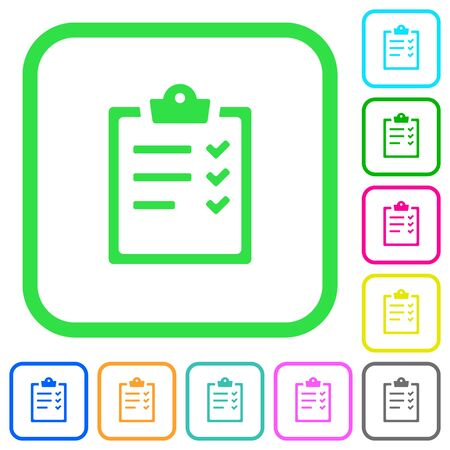 Task list vivid colored flat icons in curved borders on white background