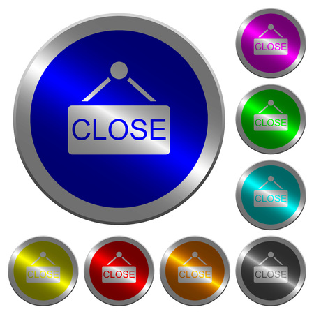 Close sign icons on round luminous coin-like color steel buttons