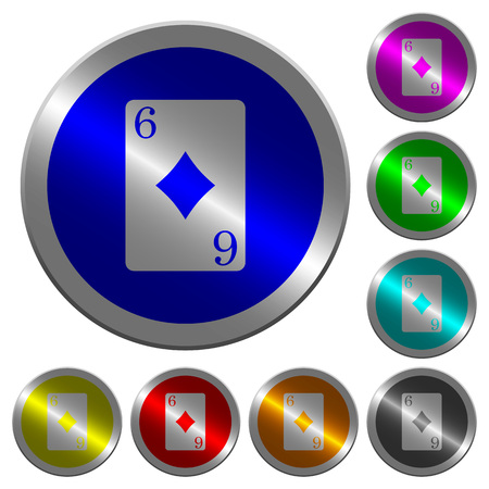 Six of diamonds card icons on round luminous coin-like color steel buttons