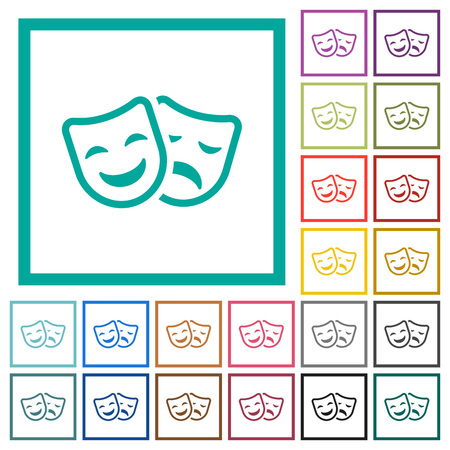 Comedy and tragedy theatrical masks flat color icons with quadrant frames on white background