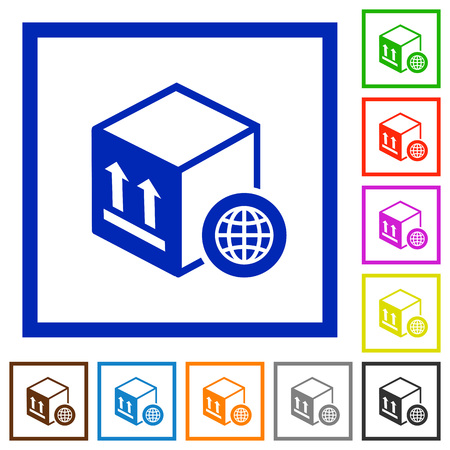 Worldwide package transportation flat color icons in square frames on white background Ilustração