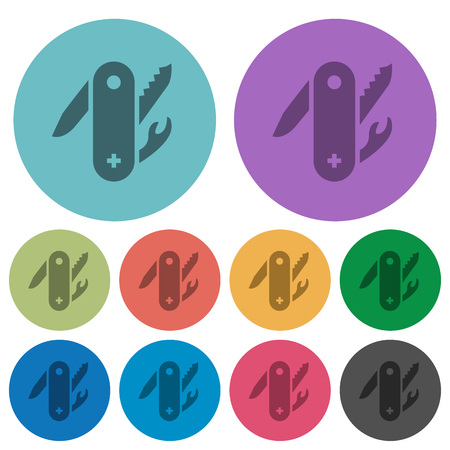 Swiss army knife darker flat icons on color round background