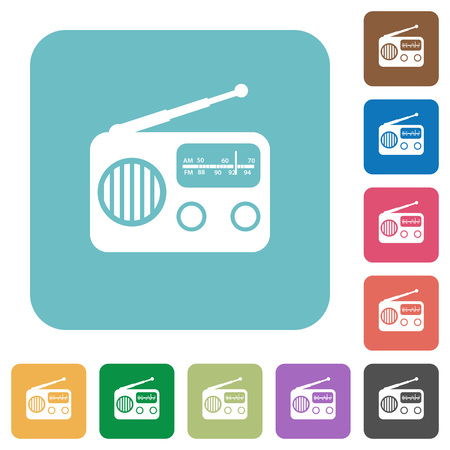 Vintage retro radio white flat icons on color rounded square backgrounds Ilustração