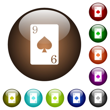 Nine of spades card white icons on round color glass buttons