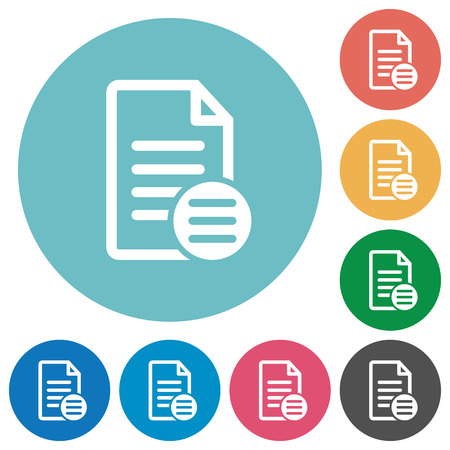 Document options flat white icons on round color backgrounds