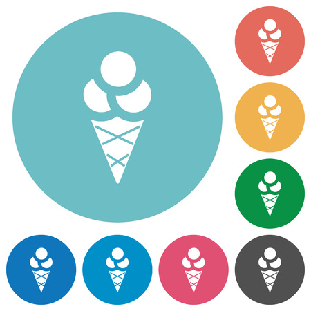 Ice cream flat white icons on round color backgrounds