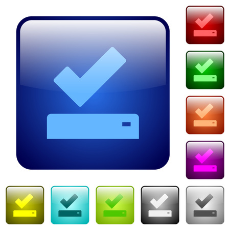 Successfully saved icons in rounded square color glossy button set