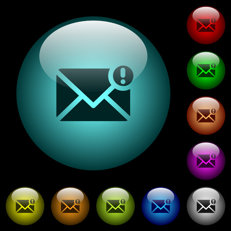Important message icons in color illuminated spherical glass buttons on black background. Can be used to black or dark templates Ilustrace