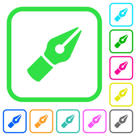 Vector pen vivid colored flat icons in curved borders on white background Illustration