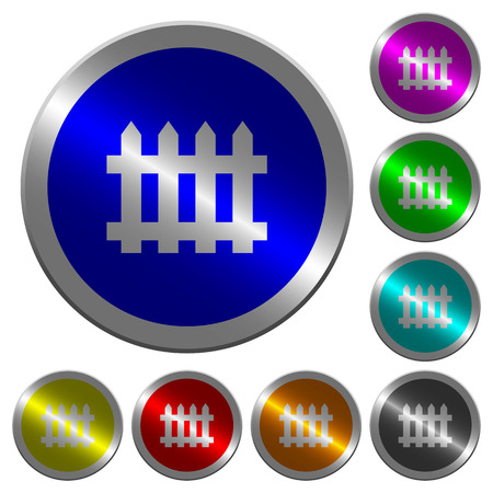 Fence icons on round luminous coin-like color steel buttons