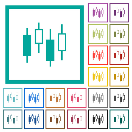Candlestick Chart Flat Color Icons In Round Outlines 6 Bonus Icons