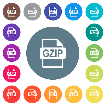 GZIP file format flat white icons on round color backgrounds. 17 background color variations are included.