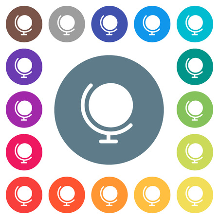 Globe with stand flat white icons on round color backgrounds. 17 background color variations are included. Illustration