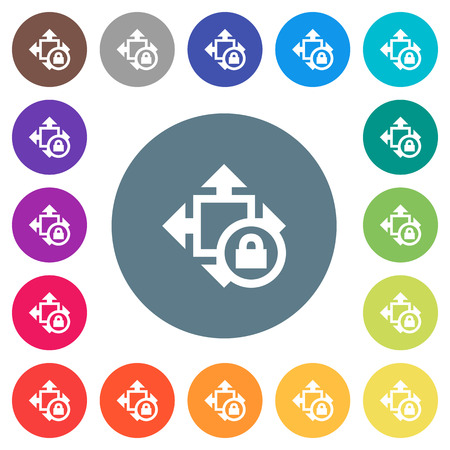 Size lock flat white icons on round color backgrounds. 17 background color variations are included. Illustration