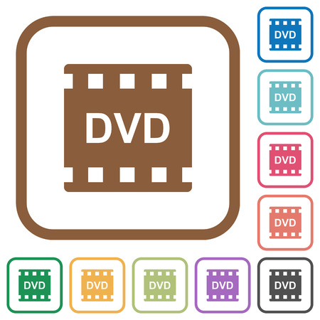 DVD movie format simple icons in color rounded square frames on white background